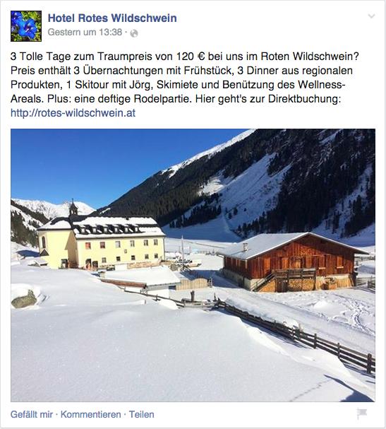 So könnte ein 'automatisch generiertes' Angebot eines Hotels auf Facebook aussehen.